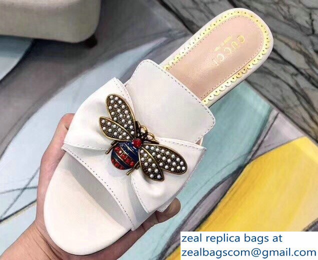 Gucci Leather Bow With Metal Bee Slides 524639 Creamy 2018
