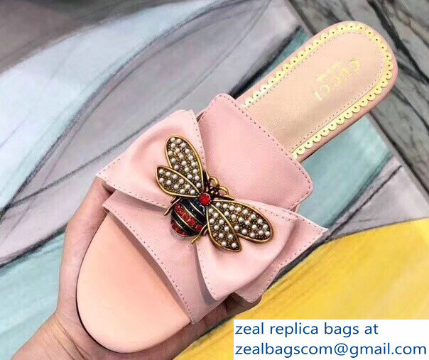 Gucci Leather Bow With Metal Bee Slides 524639 Pink 2018
