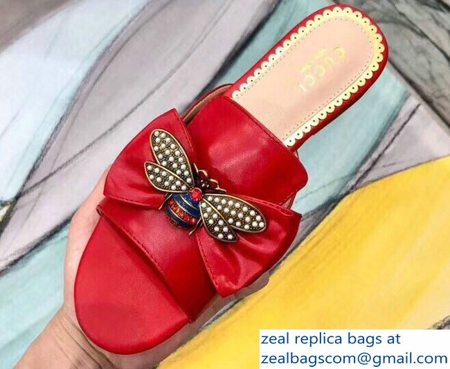 Gucci Leather Bow With Metal Bee Slides 524639 Red 2018