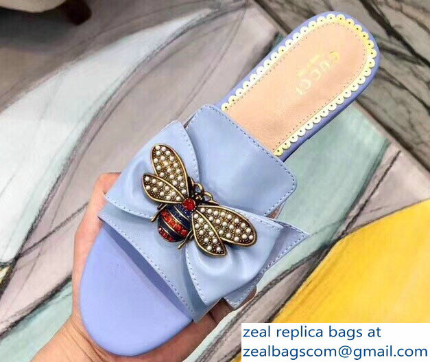 Gucci Leather Bow With Metal Bee Slides 524639 Sky Blue 2018