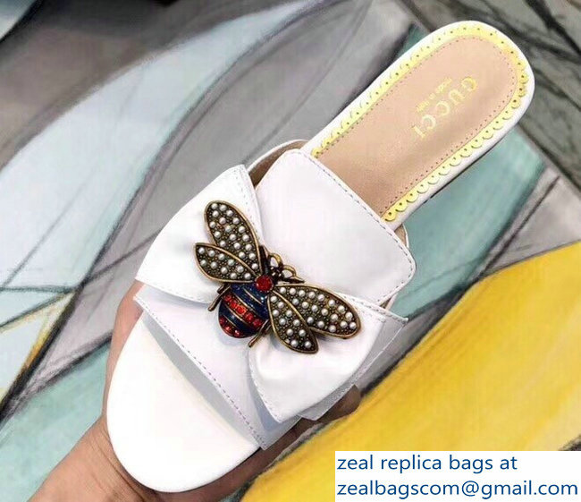 Gucci Leather Bow With Metal Bee Slides 524639 White 2018