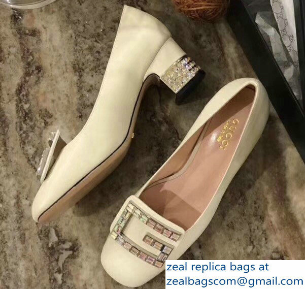 Gucci Leather Mid-Heel 5.5cm Pumps Creamy With Crystal G 522697 2018