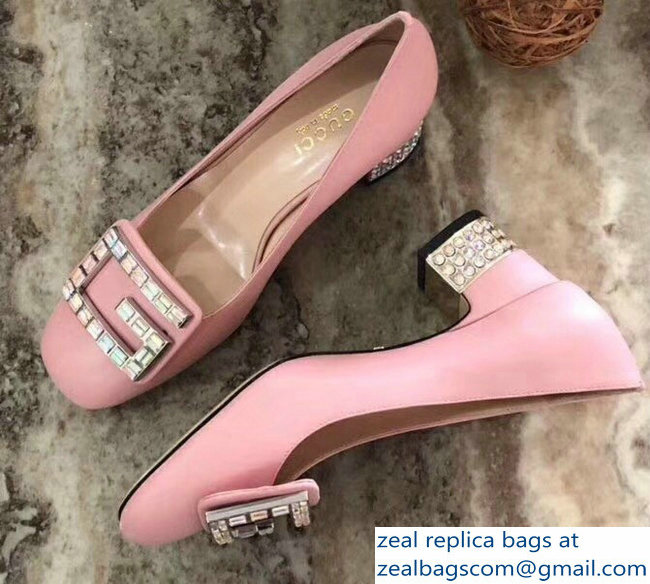 Gucci Leather Mid-Heel 5.5cm Pumps Pink With Crystal G 522697 2018