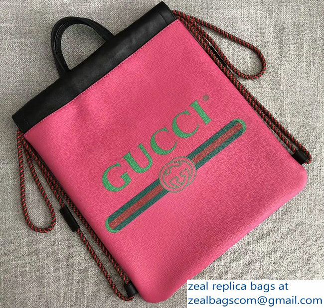 Gucci Print Leather Vintage Logo Drawstring Small Backpack Bag 523586 Fuchsia 2018