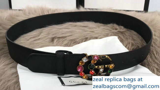 Gucci Width 4cm Black Leather Belt with Multicolor Crystals Double G Buckle