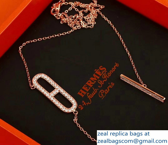 Hermes Ever Chaine d'Ancre Pendant Necklace Pink Gold
