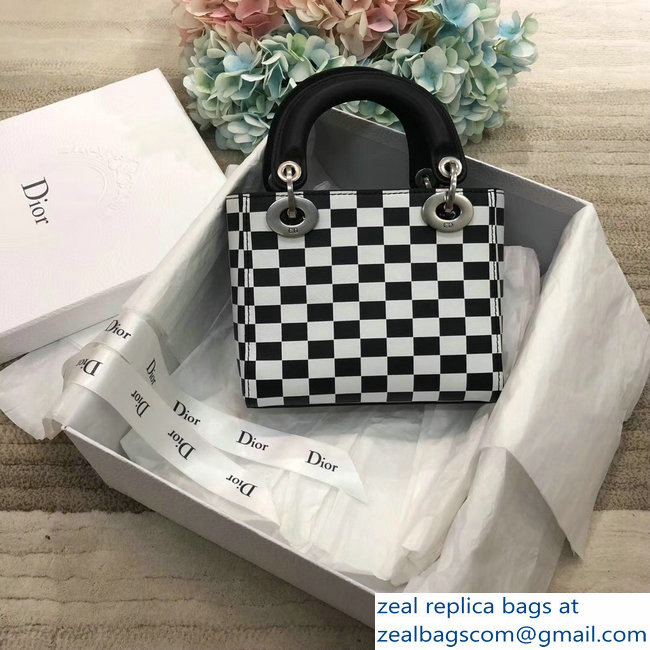 c3128d923bcf Lady Dior Mini Bag In Black And White Printed Calfskin With Logo Embroidered  Canvas Strap 2018