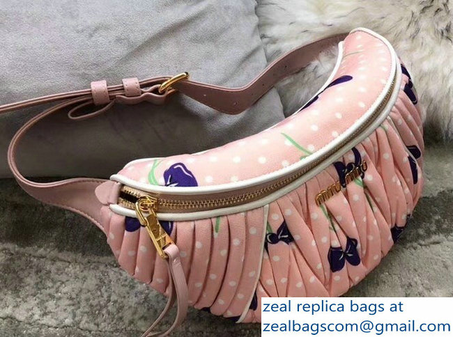 Miu Miu Matelasse Faille Belt Bag 5BL009 Light Pink 2018