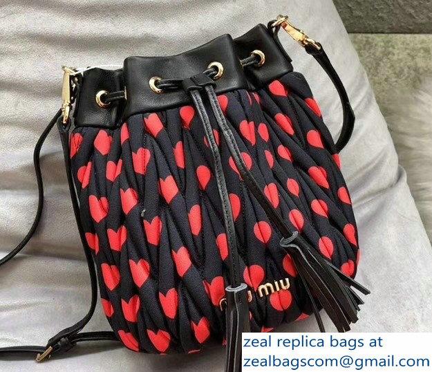 a9709eb36c38 Miu Miu Matelasse Faille Drawstring Bucket Bag 5BE014 Black 2018