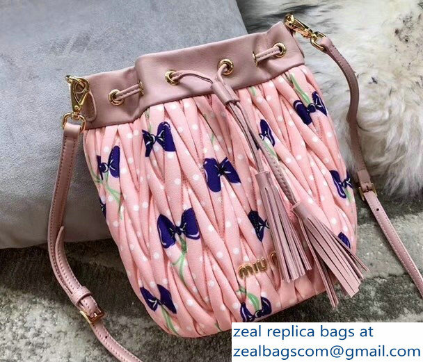 Miu Miu Matelasse Faille Drawstring Bucket Bag 5BE014 Light Pink 2018