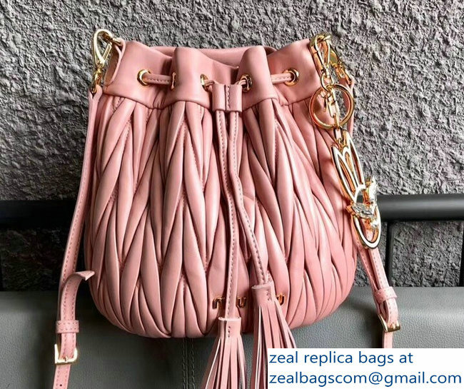 Miu Miu Matelasse Nappa Leather Drawstring Bucket Bag 5BE014 Pink 2018