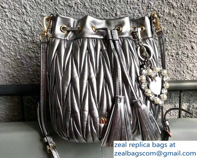 Miu Miu Matelasse Nappa Leather Drawstring Bucket Bag 5BE014 Silver 2018