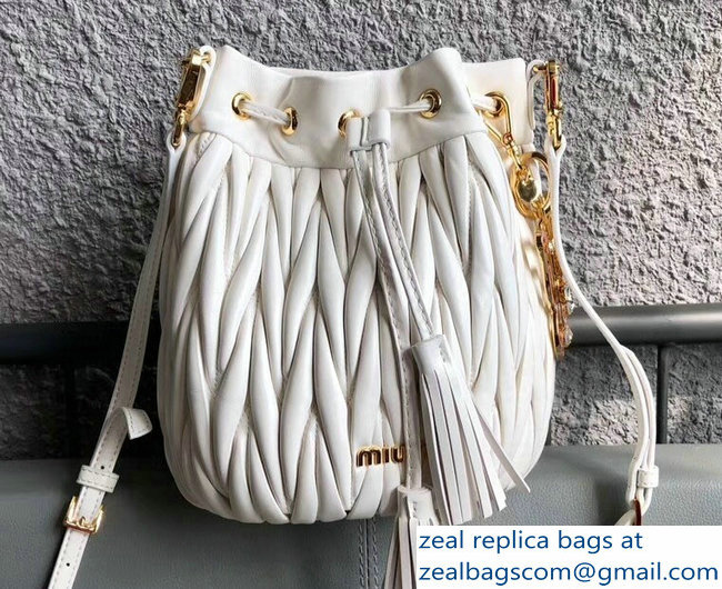 Miu Miu Matelasse Nappa Leather Drawstring Bucket Bag 5BE014 White 2018