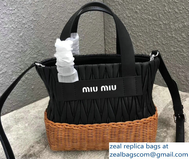 Miu Miu Matelasse Nappa Leather and Wicker Tote Bag 5BA076 Black 2018 7eadd7771d28c