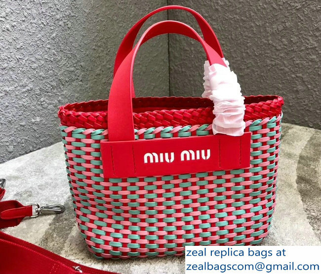 Miu Miu Woven Faux Leather Tote Bag 5BA077 Red 2018