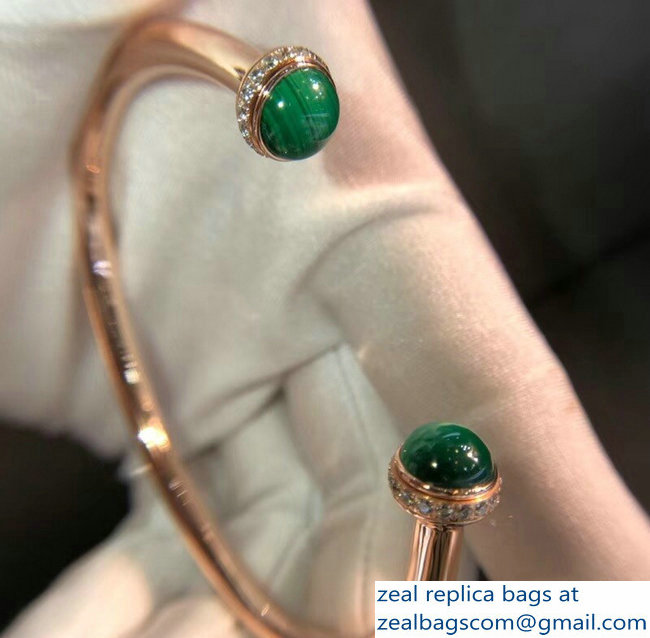 Piaget Green Pink Gold Possession Open Bangle Bracelet