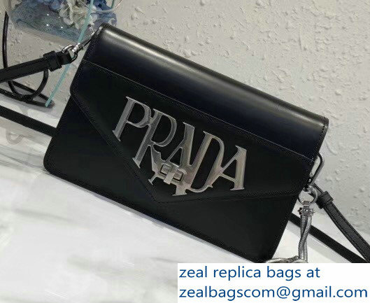 Prada Brushed Leather Shoulder Bag 1BD101 Black 2018