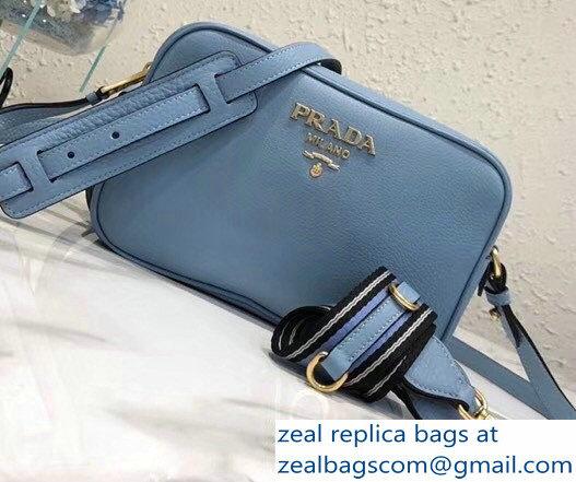 869bb3283229 Prada Calf Leather Shoulder Camera Bag 1BH082 Light Blue 2018   www ...