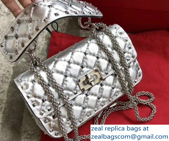 Valentino Rhombus Rockstud Spike Small Chain Shoulder Bag Silver