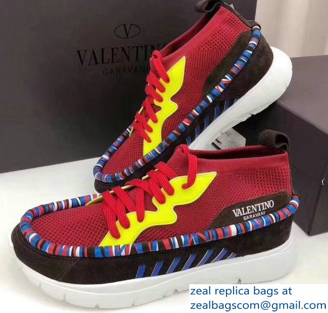Valentino Stretch Fabric Heroes Tribe Lovers Sneakers Red 2018