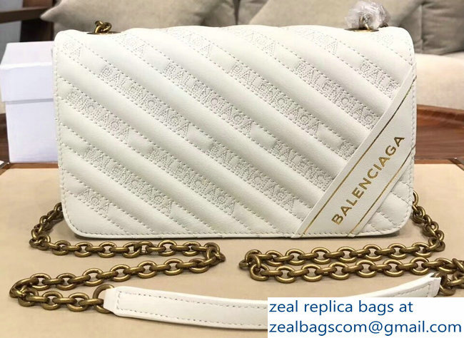 Balenciaga Matelasse Embroidered Logo Blanket Chain Wallet Bag White 2018