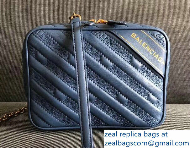 Balenciaga Matelasse Embroidered Logo Blanket XS Reporter Camera Bag Blue 2018