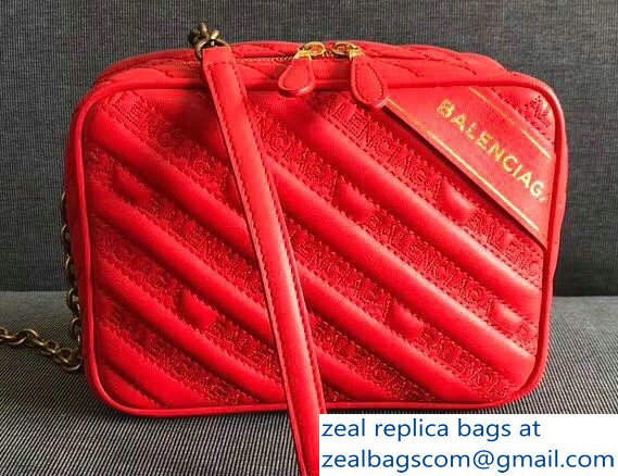 Balenciaga Matelasse Embroidered Logo Blanket XS Reporter Camera Bag Red 2018