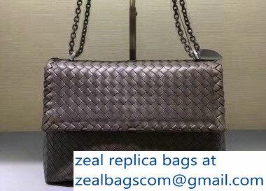 124e383b7f Bottega Veneta Intrecciato Nappa Medium Olimpia Shoulder Bag Gray ...