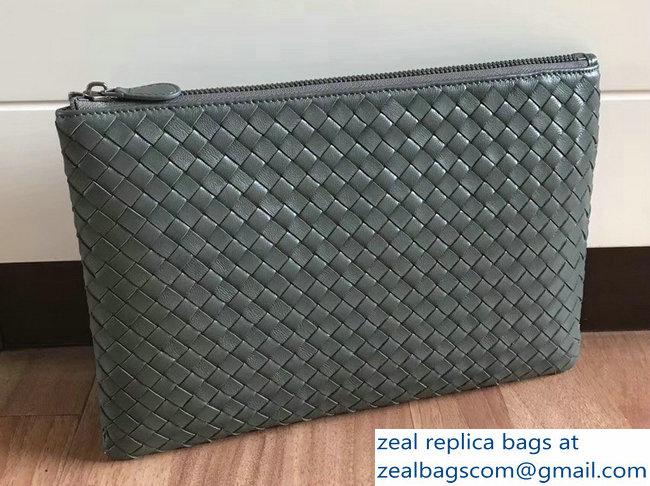 Bottega Veneta Intrecciato Nappa Medium Pouch Clutch Document Case Bag Army  Green 2018 7fec594d6e677