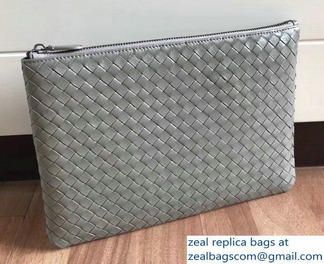 Bottega Veneta Intrecciato Nappa Medium Pouch Clutch Document Case Bag  Light Gray 2018 f424d755a8045