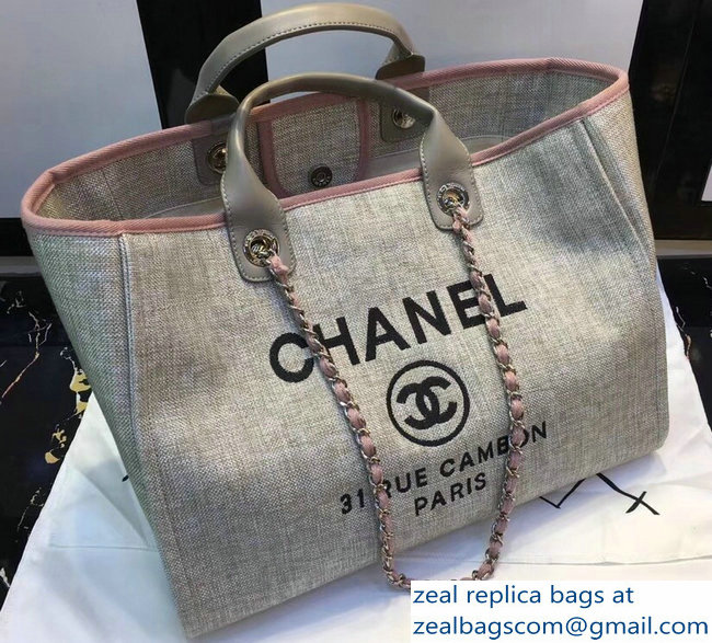 Chanel Deauville Canvas Tote Medium Shopping Bag Beige Pink   www ... 332aa1c570d1c