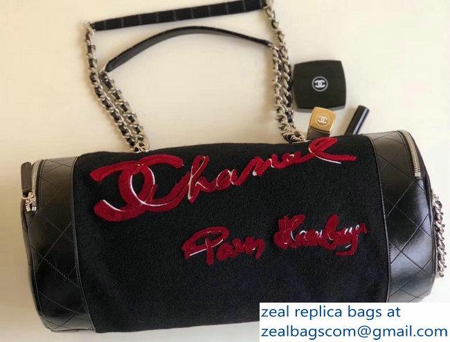 Chanel Grained Metallic Calfskin Bowling Bag A98555 Black 2016   www ... 6222daa5a2826