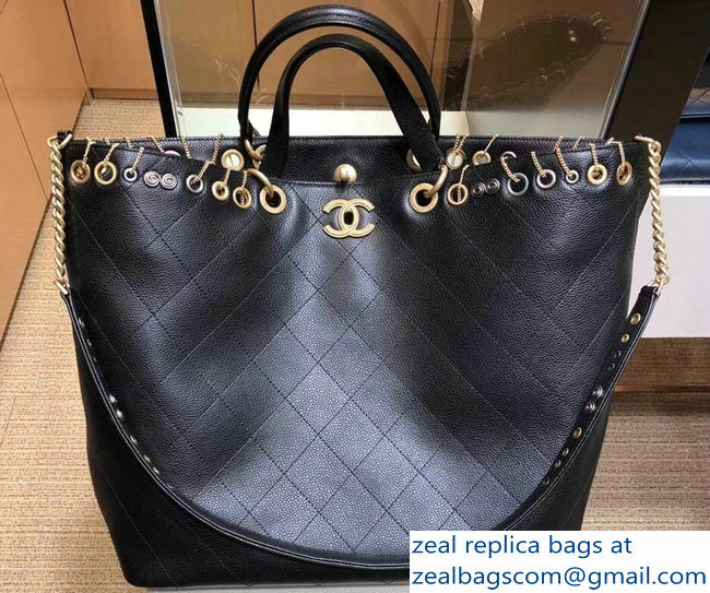 f7a544aa01f1 Chanel Metallic Perforated Shopping Tote Bag Black 2018   www.zealbag.ru