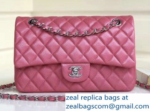 Chanel Pearl Caviar Leather Classic Flap Medium Bag Dark Pink 2018 ... a2b1adc941
