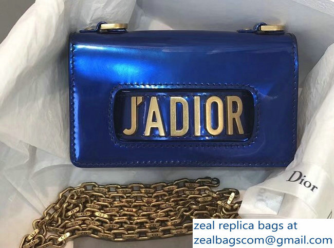 Dior J adior Mini Flap Bag in Metallic Calfskin Blue 2018