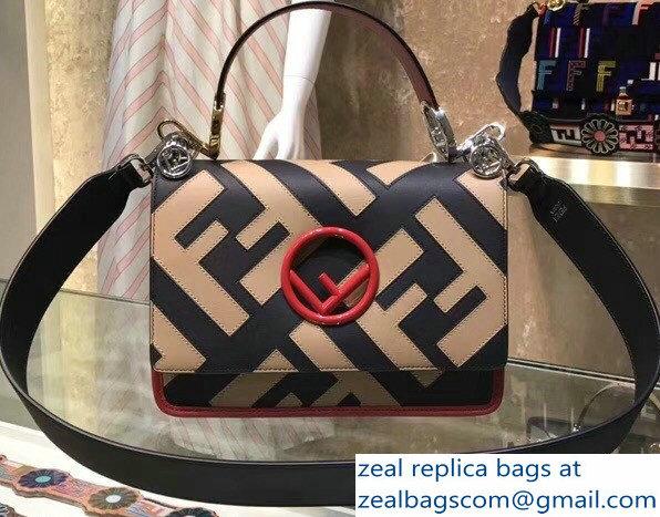 3b21ea6e6e Fendi Kan I Medium F Logo Bag FF Pattern Black Apricot 2018   www ...