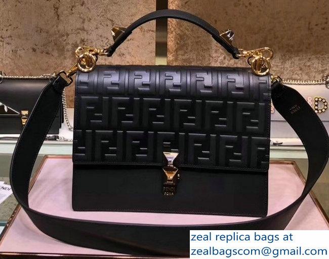 b7c5ec051a Fendi Kan I Medium Top Handle Bag Embossed FF Logo Black 2018   www ...