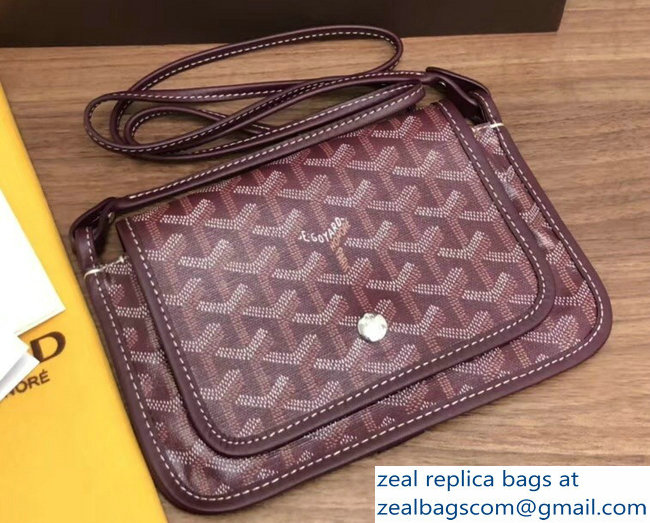 Goyard Plumet Clutch Bag with strap Burgundy