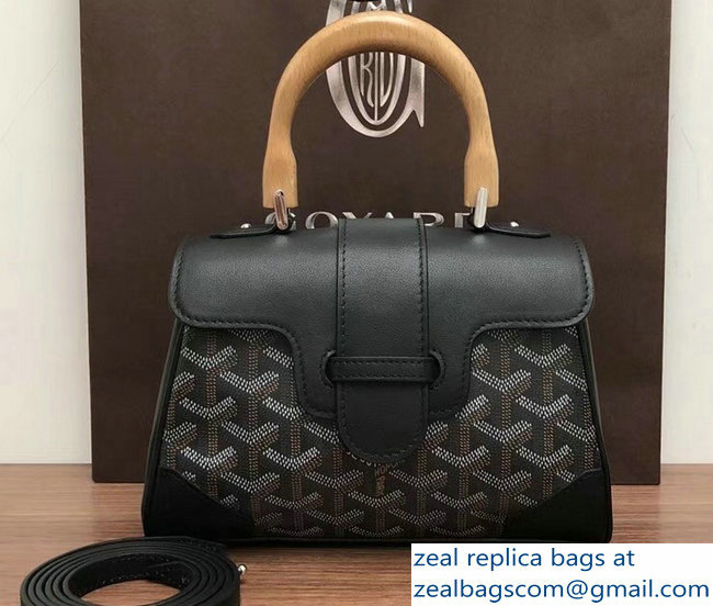 Goyard Wooden Handle Saigon Mini Tote Bag Black