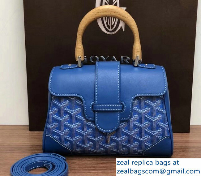 Goyard Wooden Handle Saigon Mini Tote Bag Blue