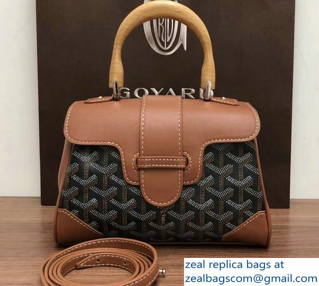Goyard Wooden Handle Saigon Mini Tote Bag Brown