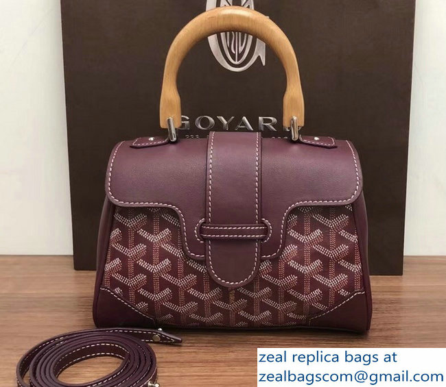 Goyard Wooden Handle Saigon Mini Tote Bag Burgundy
