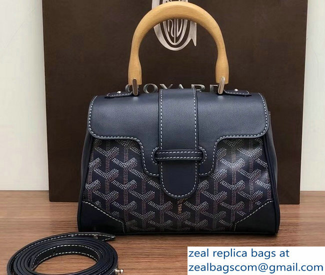 Goyard Wooden Handle Saigon Mini Tote Bag Dark Blue