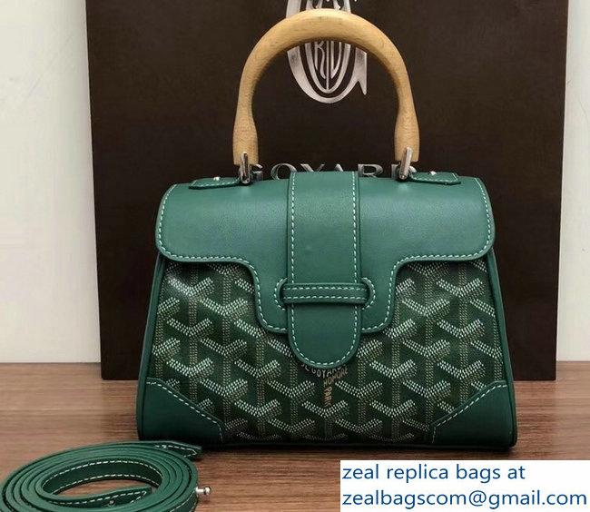 Goyard Wooden Handle Saigon Mini Tote Bag Green