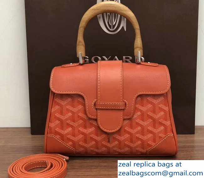 Goyard Wooden Handle Saigon Mini Tote Bag Orange