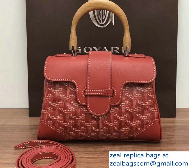 Goyard Wooden Handle Saigon Mini Tote Bag Red