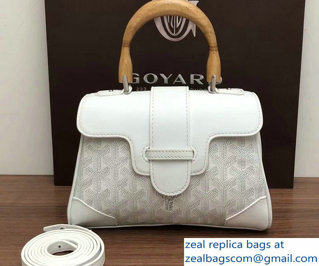 Goyard Wooden Handle Saigon Mini Tote Bag White