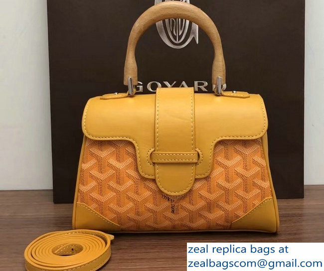 Goyard Wooden Handle Saigon Mini Tote Bag Yellow