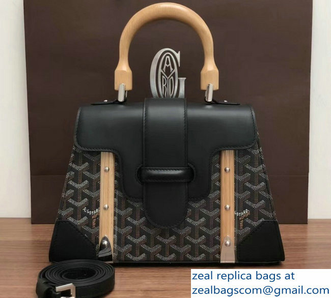 Goyard Wooden Handle Saigon PM Tote Bag Black