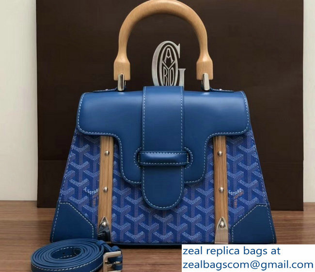 Goyard Wooden Handle Saigon PM Tote Bag Blue